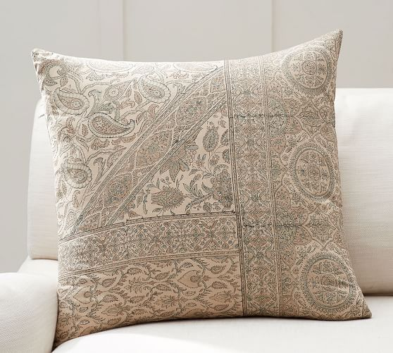 Viola Block Print Decorative Pillow Cover Pottery Barn