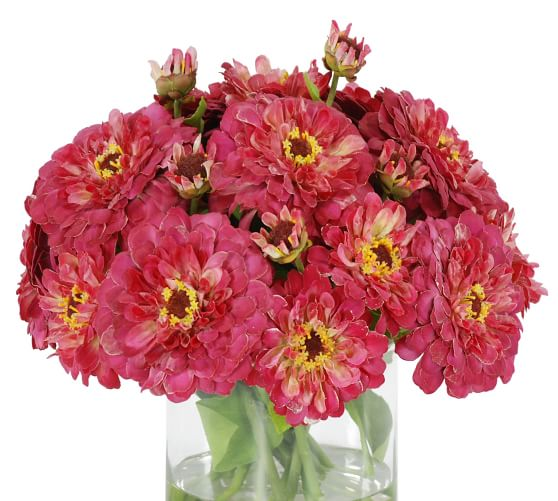 Faux Zinnia In Glass Vase Artificial Flowers Pottery Barn