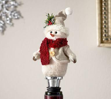 Felt Snowman Bottle Stopper Wine Accessories Pottery Barn