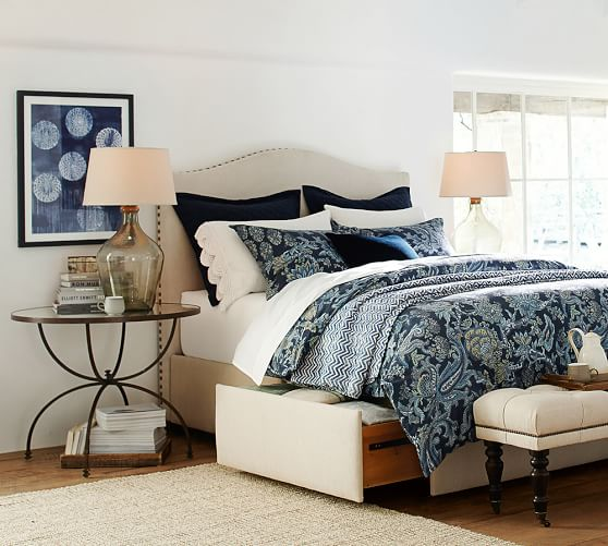 Upholstered Storage Platform Bed With Side Drawers Pottery Barn