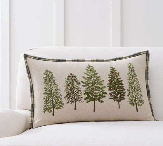 Forest Embroidered Lumbar Decorative Pillow Cover Pottery Barn
