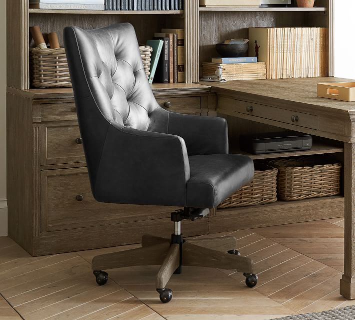 Radcliffe Tufted Leather Swivel Desk Chair Pottery Barn