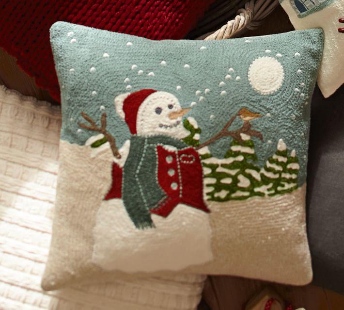 Pottery Barn Snowfall Cable Car Crewel Embroidered pillow cover NWT CHRISTMAS