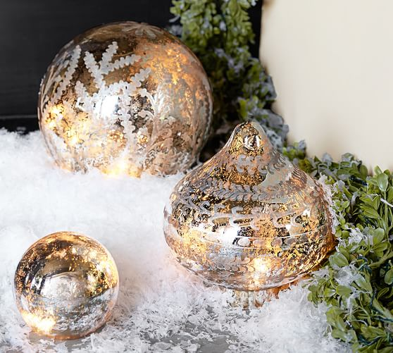 Etched Mercury Glass Christmas