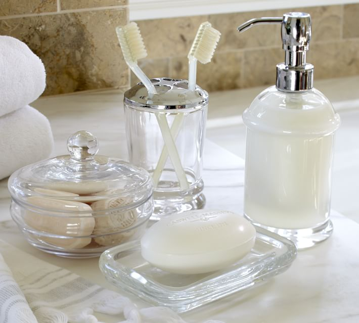 Classic Handcrafted Glass Bathroom Accessories Pottery Barn