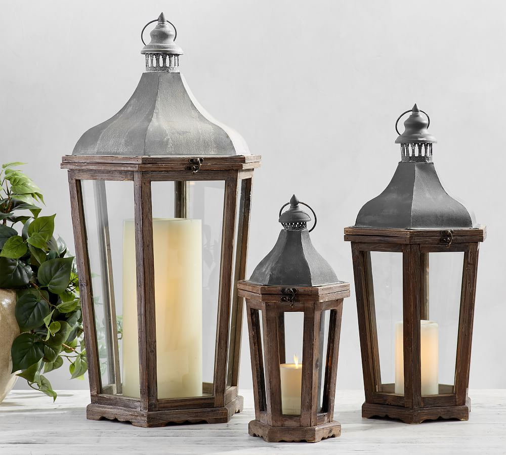 Park Hill Collection Display Lanterns Parkhill Pottery Barn Style Set//3