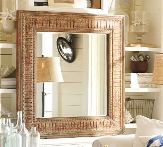 Tangier Carved Wall Mirror Pottery Barn, Carved Wood Mirror Pottery Barn