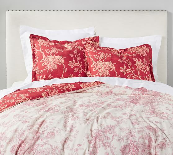 Darla Toile Reversible Cotton Patterned, Red Toile Queen Bedding