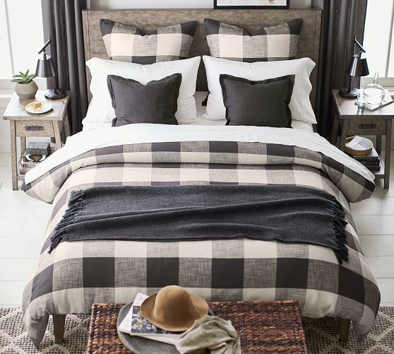 Charcoal Bryce Buffalo Check Patterned, Buffalo Check Bedding And Curtains
