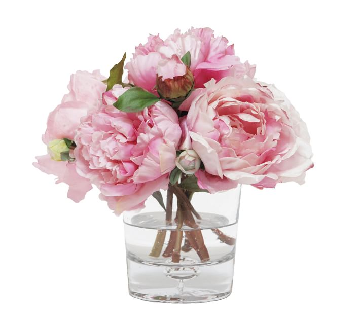 Faux Mixed Peony In Glass Vase