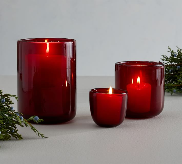 Modern Glass Votive Candle Holder Red Pottery Barn