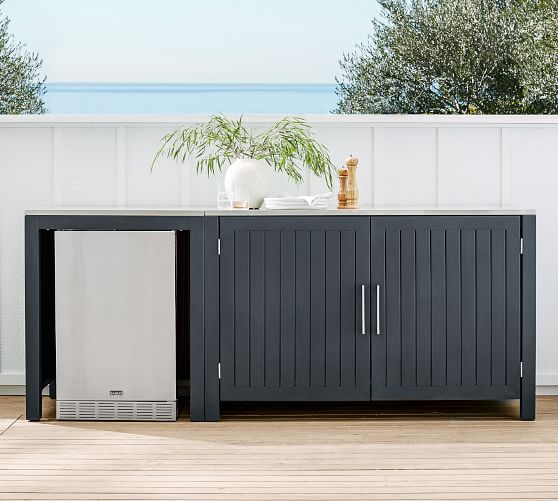 Indio Metal Outdoor Kitchen Convertable Refrigerator Double Door Cabinet Slate Pottery Barn