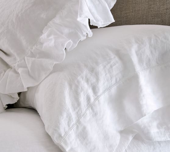 POTTERY BARN BELGIAN FLAX LINEN SET OF 2 STANDARD PILLOWCASES WHITE NEW WITH TAG