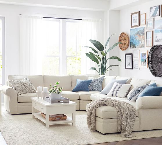 Pearce Roll Arm Upholstered 4 Piece Chaise Sectional With Wedge Pottery Barn