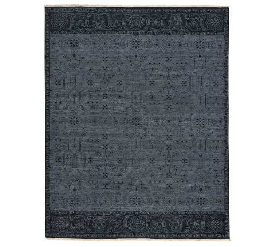 Ewan Hand Knotted Wool Rug Charcoal Pottery Barn