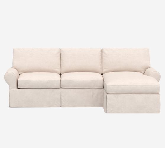 Pb Basic Slipcovered Sofa Chaise, Cream Sleeper Sofa With Chaise
