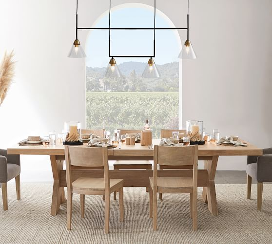 Claremont Flared Glass Linear, What Size Linear Chandelier For Dining Room
