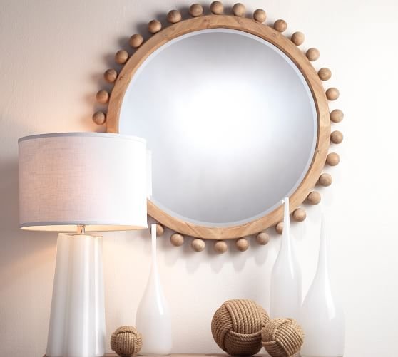 Pacific Wooden Round Wall Mirror, Natural Carved Wood Round Mirror