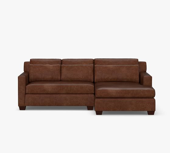 York Square Arm Deep Seat Leather Sofa, Double Leather Sofa Bed