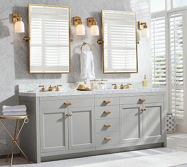 Kensington Pivot Rectangular Wall, 24 X 36 Brushed Nickel Vanity Mirror