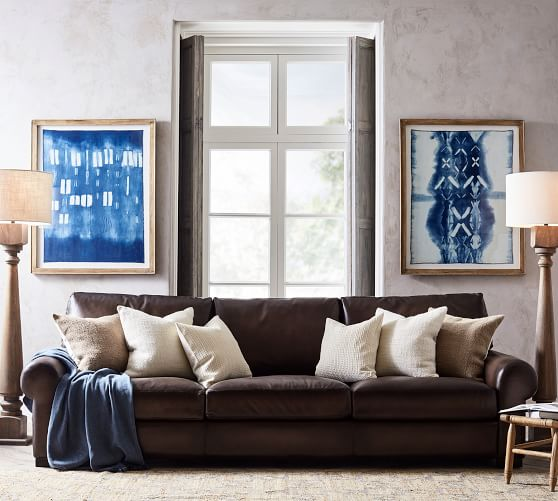 Turner Roll Arm Leather Sofa Pottery Barn, Leather Loveseat And Sofa