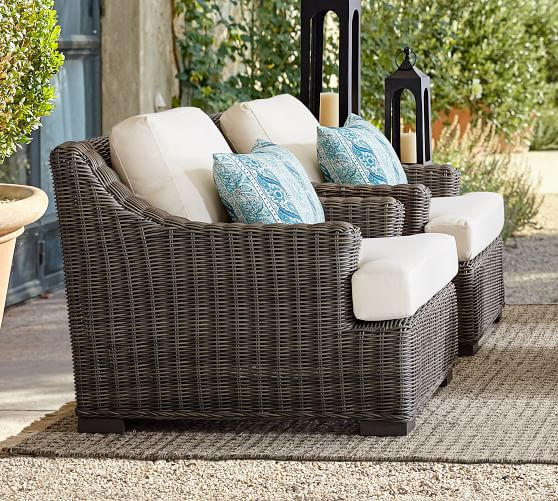 Huntington All Weather Wicker Slope Arm, Pottery Barn Rattan Furniture