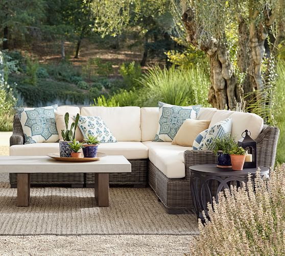Huntington All Weather Wicker Outdoor Sectional Slope Arm Set Pottery Barn