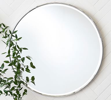 Vintage Round Mirror Pottery Barn, What Size Round Mirror For A 48 Vanity