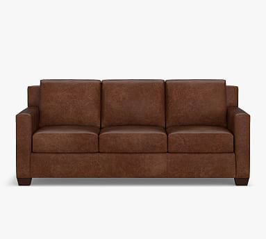 York Square Arm Leather Sofa Collection, Square Arm Leather Sofa
