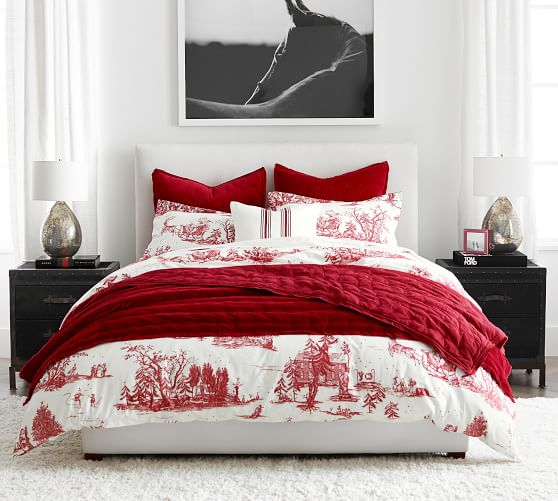 Santa Toile Organic Cotton Duvet Cover, Red Toile Queen Bedding