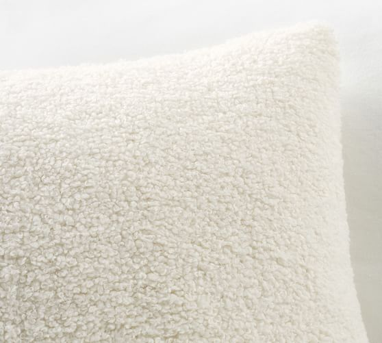 Pottery Barn Cozy Teddy Faux Fur Pillow Cover Mineral Blue