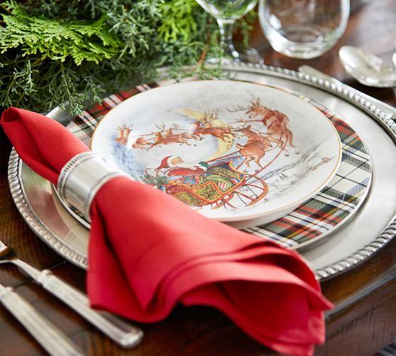 POTTERY BARN NOSTALGIC SANTA SALAD PLATES~MIXED SET//4~NEW IN BOX Christmas Plate