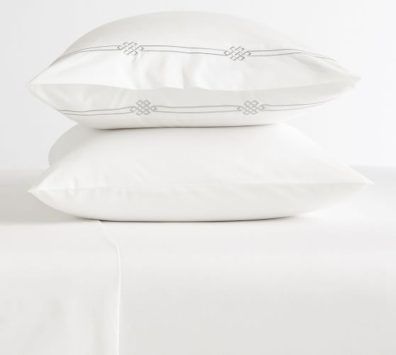 Set 2 Pottery Barn Teen Parker Embroidered Cases Pillowcases White//Light Grey