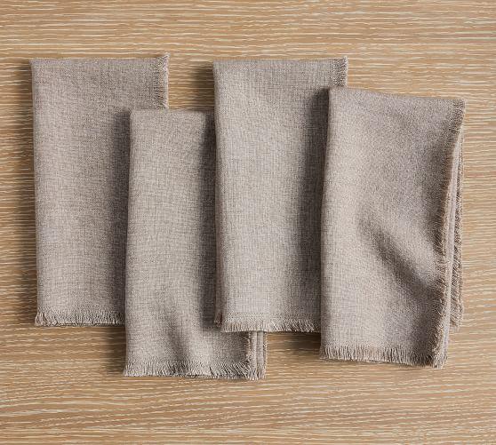 Frayed Oversized Linen Napkins - Set of 4