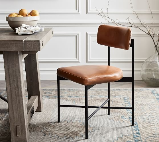 Maison Leather Dining Chair Pottery Barn, Leather Dining Room Chairs