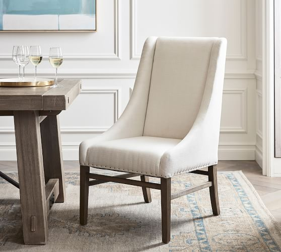 Milan Slope Upholstered Dining Armchair, Upholstered Dining Room Chairs With Arms