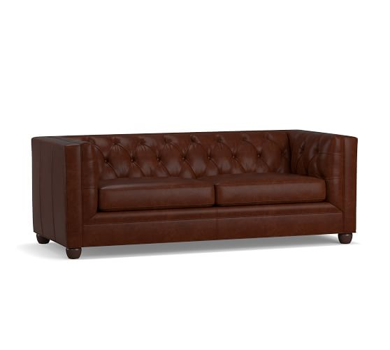 Chesterfield Square Arm Leather Sofa, Square Arm Leather Sofa