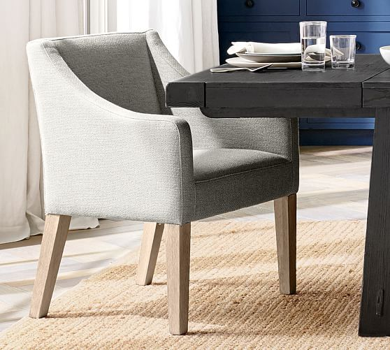 Pb Classic Slope Upholstered Dining, Upholstered Dining Room Chairs With Arms