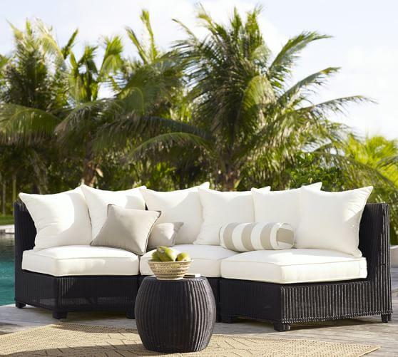 Palmetto All Weather Wicker Rounded, For Living 3 Piece Wicker Patio Sectional Set With Cushions