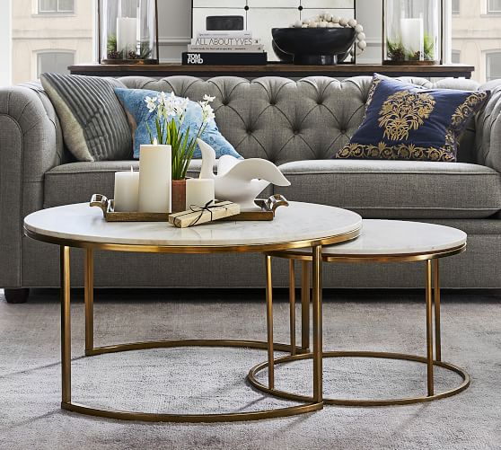 Delaney Round Marble Nesting Coffee, Nesting Coffee Tables Round