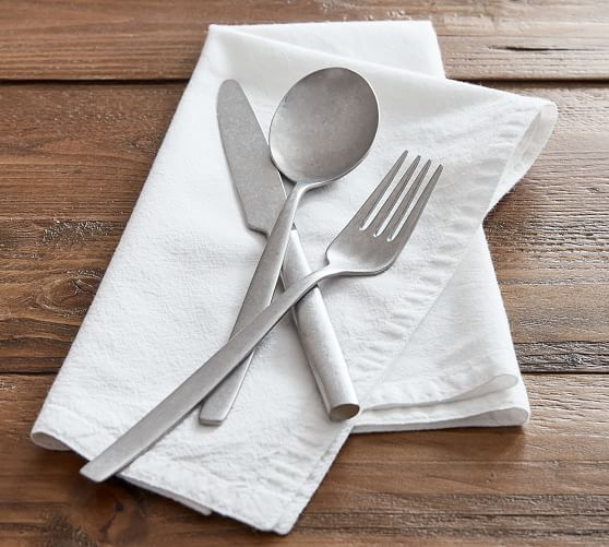 Astoria Tumbled Stainless Steel Flatware - Set of 12
