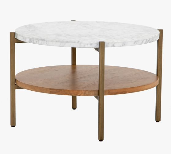 Modern 24 Round Marble Coffee Table, 24 Inch Round Table