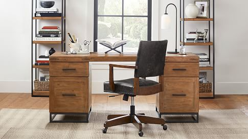 Malcolm 68 Double Pedestal Desk, Double Desk Home Office With Drawers