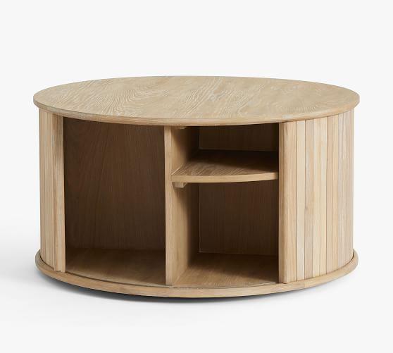 Arlo 31 Tambour Round Storage Coffee, Round Table Storage Racks
