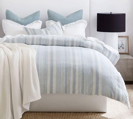 Hawthorn Striped Cotton Duvet Cover, Blue Gray Bedding