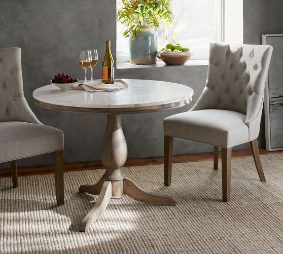 Alexandra Round Marble Pedestal Dining, Pottery Barn Tables Round