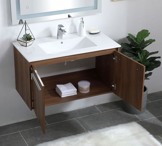 Luc 24 36 Single Sink Floating Vanity With Doors Pottery Barn