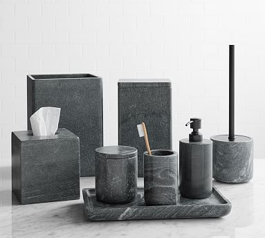 Black Handcrafted Marble Bathroom, Black Bathroom Accessory Set