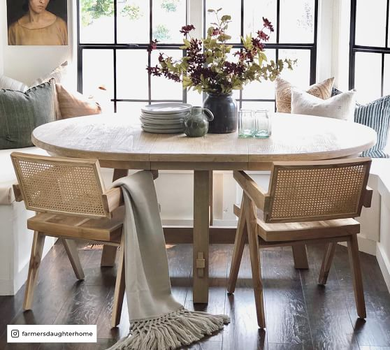 Toscana Round Extending Dining Table, Circle Dining Room Table