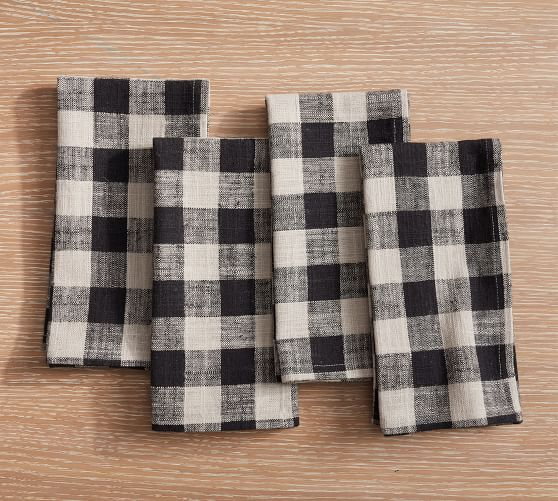 Dalton Check Yarn Dyed Cotton/Linen Napkins - Set of 4